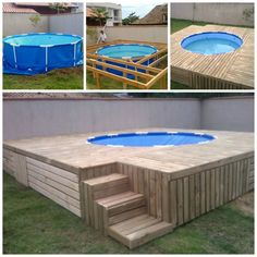 Summer is coming which means you'll need to cool off in the pool! Build a swimming pool deck! Looks easy & cheap to make. Backyard Pool Designs, Backyard Projects, Diy Projects, Backyard Ideas, Building A Swimming Pool, Swimming Pool Decks, Piscina Diy, Pallet Pool, Diy Pallet