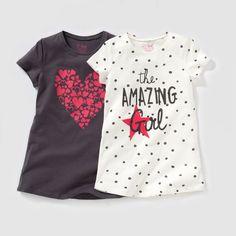 """Camiseta de manga corta estampada. En lotes de 2: 1 camiseta estampada de lunares con inscripción """"The amazing girl"""" delante + 1 camiseta con estampado """"corazón"""". Cuello redondo. Composición y detalles: Tejido: punto 100% algodón.Marca: LES PETITS PRIX.Cuidados:Lavado a máquina a 40 ºC con colores similares.Lavado, secado y planchado del revés.Secado a máquina moderado.Planchado a temperatura media."""