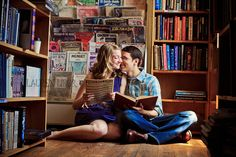 Books and Coffee...that's us!    Cute-Bookstore-Engaged-Couple