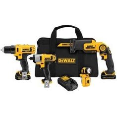 DEWALT Max Power Tool Combo Kit with Soft Case (Charger Included and Included) at Lowe's. The 12 V MAX Li-ion Combo kit includes reciprocating saw with a pivot handle for making difficult cuts in confined spaces, Dewalt Drill, Dewalt Tools, Woodworking Power Tools, Woodworking Tools, V Max, Reciprocating Saw, Led Work Light, Impact Driver, Drill Driver