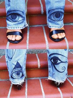 Custom Hand Painted Symbol Jeans Example