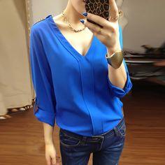 New 2013 Elegant fashion S XXXXL plus size chiffon long sleeve v neck women's blouses t shirts tops for women autumn summer-$17.77