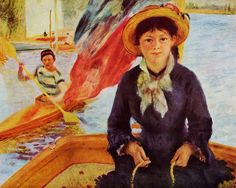 CANOEING AKA YOUNG GIRL IN A BOAT (1877) by Auguste Renoir | Impressionism | Oil on canvas | Private collection