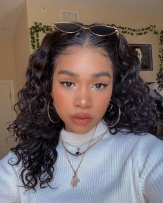 Baddie Hairstyles, Pretty Hairstyles, Braided Hairstyles, Cute Makeup, Makeup Looks, Hair Makeup, Hair Inspo, Hair Inspiration, Curly Hair Styles