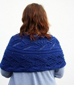 Hand Knitted Stole, Navy Blue Wrap, Royal Blue Openwork Thick Scarf by PolClary