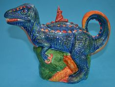 Dinosaur blue colourway.Teapot