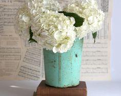 Vintage Sap Bucket, Rustic Sap Bucket, Teal Sap Bucket, Galvanized Bucket, Rustic Farmhouse Decor, Cottage Garden Decor