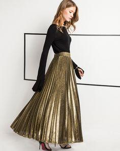 Fashion Long Skirt Summer Autumn Casual Smooth Women Skirt High Waist  Elastic Pleated Skirt  c4574208e080