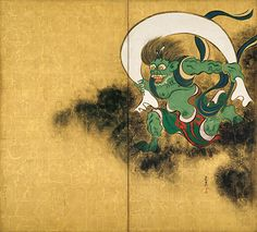 Ogata Korin 重要文化財 風神雷神図屏風(右隻) 尾形光琳筆  所蔵先 東京国立博物館