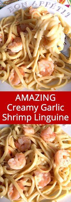 This creamy garlic shrimp linguine pasta recipe is so good, I'm drooling!