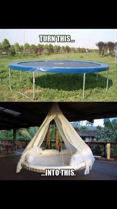 Turn a trampoline into a hanging outdoor bed as a new take on the hammock idea for relaxing. Turn a trampoline into a hanging outdoor bed as a new take… Trampolines, Outdoor Projects, Home Projects, Craft Projects, Diy Furniture, Outdoor Furniture, Outdoor Decor, Outdoor Living, Furniture Design