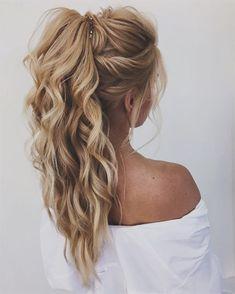 20 Brilliant Half Up Half Down Wedding Hairstyles for 2019 «Hair Styles - Prom hair - # for hairstyles Informations About Hochsteckfrisur, geflochtene Hochsteckfrisur # Braided Hairstyles Updo, Straight Hairstyles, Braided Updo, Ponytail Hairstyles For Prom, Long Ponytails, Formal Ponytail, Curly Hair Ponytail, Braided Prom Hair, Hairstyle Ideas