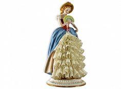 Статуэтка Девушка с веером в голубом