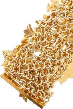 Versace's enameled gold-tone metal medal bracelet