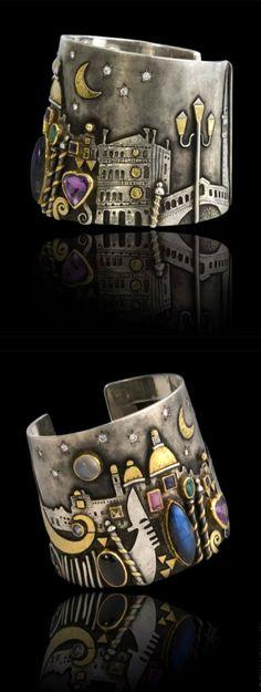 Cuff | Linda Ladurner. 'Venezia'. Gold, silver, citrine, labradorite, emerald, diopside, amethyst, iolite, tourmaline, moonstone, diamonds