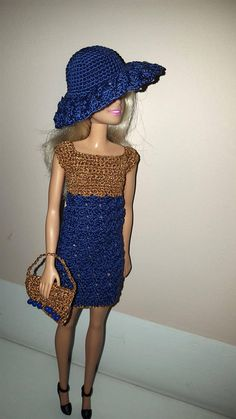 Crochet Barbie dress with hat and handbag