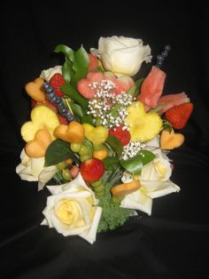 647-271-7971 Dream Wedding, Wedding Day, Valentines Day Weddings, Centerpieces, Table Decorations, Edible Flowers, Fruit Salad, Cheese, Bouquets