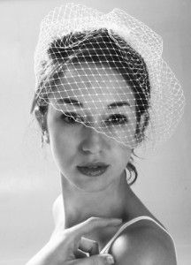 circular cut birdcage russian veil