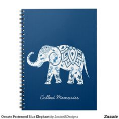 "Ornate Patterned Blue Elephant ""Collect memories"" Spiral Notebook"