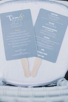 Sweet + modern wedding programs: http://www.stylemepretty.com/2016/01/18/bow-tie-inspired-santa-monica-wedding/ | Photography: Heidi Ryder - http://heidiryder.net/