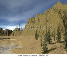 the landscape of the wilderness with sand and water. 3D Illustration, 3D rendering - stock photo