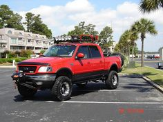 Color scheme and lights, with roof rack. Ford F150 Crew Cab, Ford F150 Xlt, Ford F150 Custom, Truck Roof Rack, F150 Lifted, Ford Obs, Fords 150, Truck Accessories, Old Trucks