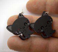 Adorable Little Black Cat Earrings Laser Cut Acrylic. $10.00, via Etsy.