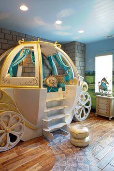 Cinderella. The owner of this gilded carriage must enjoy her enchanted sleep in it. With the coach bed and other fantasy decor, this bedroom would be a dream come true for a girl who loves to play princess. Wonder feature: A detailed path leads to the bed. Eclectic Kids by Hansen Architects, P.C.