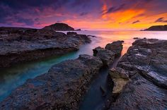 Sea Rocks Kuta Beach Lombok Indonesia by Photograph Fadil Basymeleh