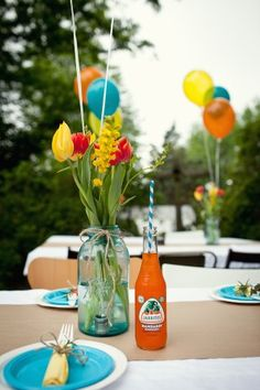 Mason Jars with supermarket flowers tied with string and add balloons.. vintage-soda-striped-straws