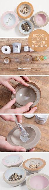 DIY tutorial for jewelry bowls made of concrete / diy tutorial: concrete bowls for j . - DIY tutorial for concrete bowls / diy tutorial: concrete bowls for jewelery, home decor via DaWanda - Concrete Crafts, Concrete Projects, Concrete Jewelry, Handmade Home Decor, Diy Home Decor, Concrete Bowl, Concrete Color, Concrete Design, Decoration Christmas
