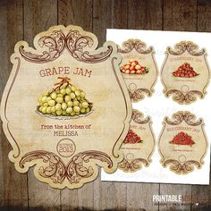 Vintage fruit jam labels / Printable mason by PrintableMiracles, $5.00