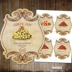 Vintage fruit jam labels / Printable mason by PrintableMiracles, $5.00