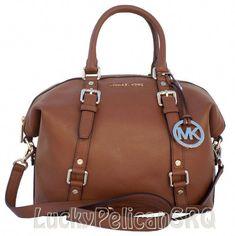 09408e9606f549 I like this Michael Kors Bedford Medium Leather Satchel Purse Bag Handbag  Brown but maybe in black.