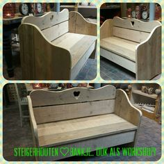This is a great shape for a bench! Would still need our storage compartments but I love the back and sides. Small Woodworking Projects, Diy Pallet Projects, Woodworking Furniture, Diy Woodworking, Wood Pallet Furniture, Diy Furniture, Natural Wood Crafts, Picnic Table Bench, Build A Farmhouse Table