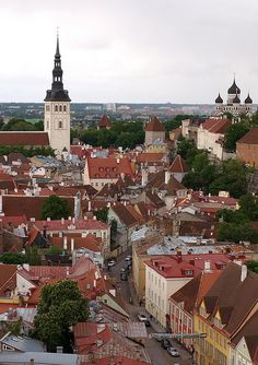 View from St. Olav's Church, Tallinn / Estonia (by achakovsky). Beautiful World, Beautiful Places, Classical Architecture, British Isles, Continents, Paris Skyline, Danish Flag, Places To Visit, Around The Worlds