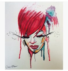 A drawing of Rihanna with water colors.