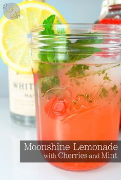 Moonshine Lemonade with Cherries and Mint | BluegrassBites.com A beautiful, quick, simple, and refreshing cocktail recipe that can be easily be made to serve a crowd!