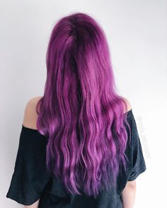 Pretty long beachy waves on - try out our Magenta Ombre kit for a similar look! Plum Purple Hair, Ombre Kit, Really Long Hair, Beachy Waves, Hair Colorist, Hair Inspo, Hair Goals, Hair Beauty, Beauty Makeup