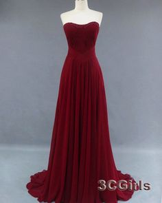 Simple sweetheart neckline strapless winered chiffon strapless long handmade prom dress for teens, ball gown, occasion dress from #3cgirls #weddings -> http://www.3cgirls.com/#!product/prd1/4225806851/simple-winered-strapless-long-handmade-prom-dress