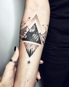 """4,917 Likes, 58 Comments - Sasha Kiseleva (@sashakiseleva) on Instagram: """"Cosmic triangle is not by me, but I added the small one and the natural brace ❤️✨ #tattoo #ink…"""""""