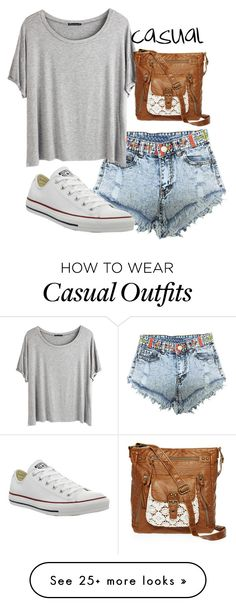 """casual"" by ilikelove on Polyvore featuring Chicnova Fashion, Converse and T-shirt & Jeans"