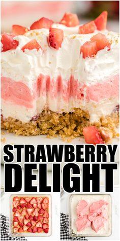 13 Desserts, Summer Desserts, Delicious Desserts, Strawberry Delight, Strawberry Desserts, Desserts With Strawberries, Strawberry Jello, Baking Recipes, Cookie Recipes