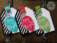 Reverse Confetti Tags - TOPPED OFF TAG along with the new HANG UPS Confetti Cuts and the MERRY & BRIGHT stamp set - bjl