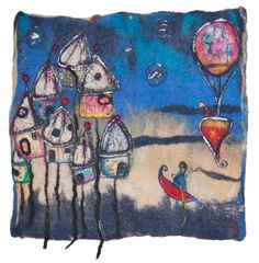 Love this wall hanging!  And the reverse side which shows the free motion embroidery 'drawing' is lovely to see too (I always love to see the back of embroidery :) Felted wallhanging enchanted town - reversible fiber art painting