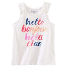 "Girls 4-12 OshKosh B'gosh® ""Hello Bonjour Hola Ciao"" Sequined Graphic Tank Top, Girl's, Size: 7, White"