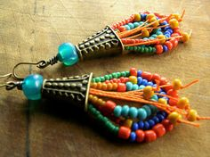 Tribal Loop Earrings Brass Orange Teal Yellow OOAK by ChrysalisToo, $49.00