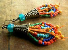Tribal Loop Earrings Brass Orange Teal Yellow OOAK by ChrysalisToo, $49.00