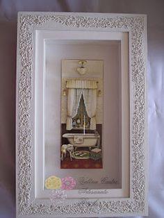 Quadro Banheirinho. Lindíssimo quadro, ideal para seu lavabo (bathroom), existem 3 versões diferentes. Vc pode encantar suas visitas com esse quadro onde utilizei a técnica da Arte Francesa.