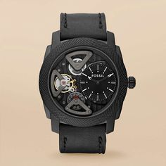 FOSSIL® New Arrivals Watches:Men Mechanical Leather Watch - Black ME1121